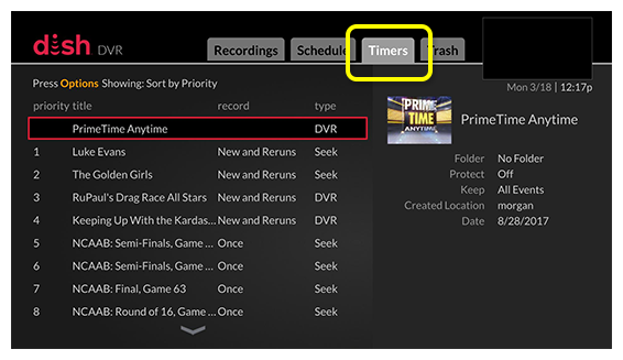 Timers tab (use the skip forward button, located one button to the right of the DVR button, to move through the tabs)