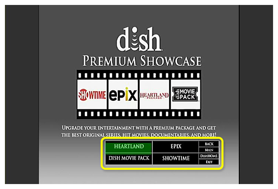 Grid of premium channels to choose from