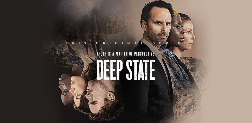 Deep State, on EPIX - Truth is a matter of perspective (with three characters upside down)