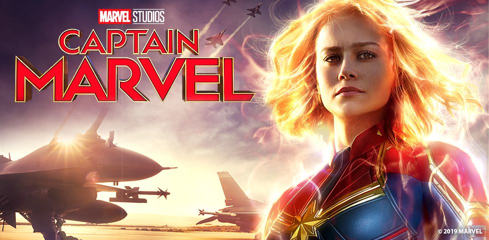 Brie Larson as Captain Marvel, now playing on demand