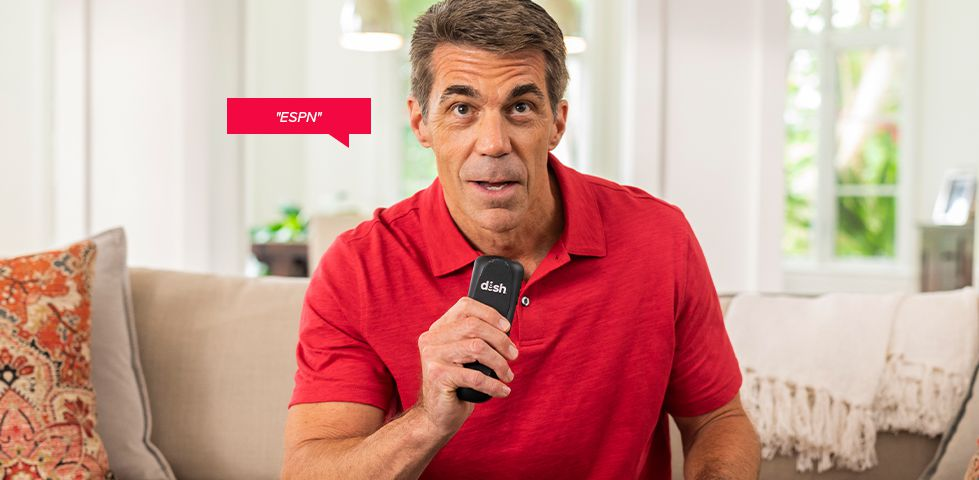 ESPN Analyst Chris Fowler saying 'ESPN' into his DISH Voice remote