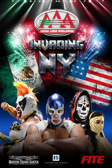 Mexican wrestlers under Mexican and American flags