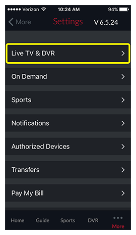 Live TV and DVR option within DISH Anywhere phone app settings menu