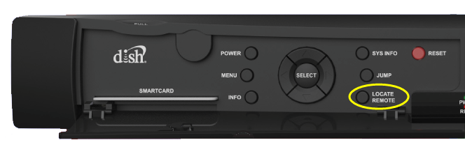 Locate Remote button on front panel of receiver