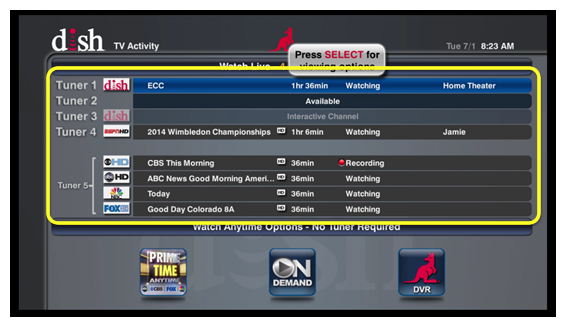 TV Activity menu with list of all tuners