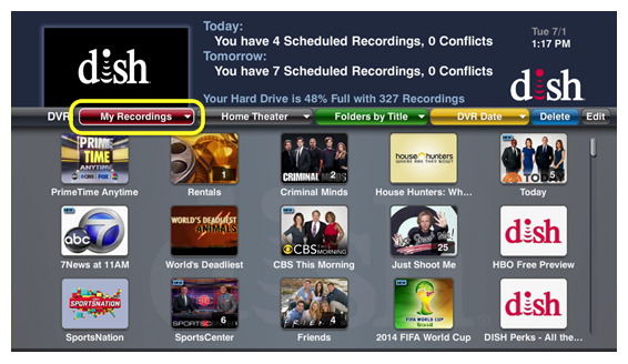 My Recordings menu above Program Guide, accessed by pressing the red color button on the 40.0 remote