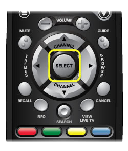 Select button on the 40.0 remote (large round button in the center of the top half of the remote)