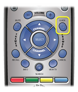 GUIDE button on remote