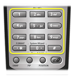 number pad on 21.0 remote