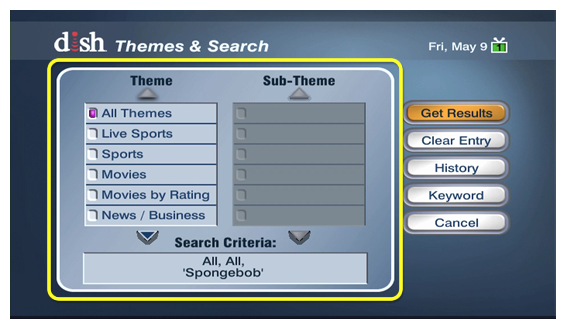 themes to search within, including sports, movies, news, and more