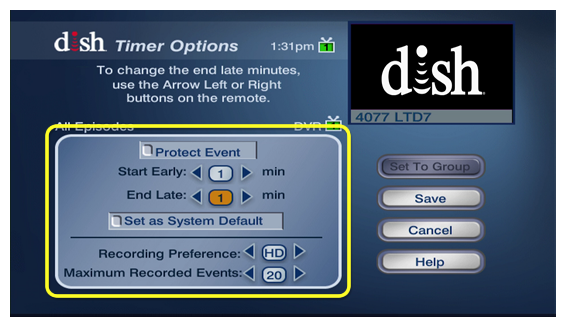preferences for this timer, like the option to start early, end late, or protect the recording