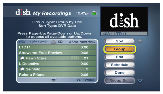 Group button to the side of current recordings