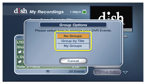 options to arrange recordings by title, by your defined groups, or not at all