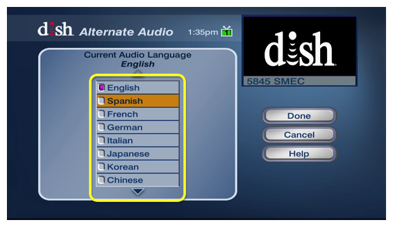 list of available audio languages including English, Spanish, French, and more