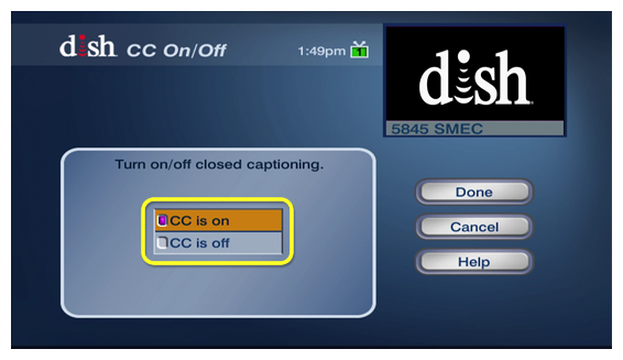 closed captions on or off