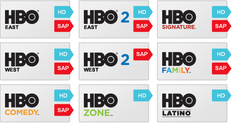 HBO East, HBO 2 East, HBO West, HBO 2 West, HBO Signature, HBO Family, HBO Comedy, HBO Zone, HBO Latino