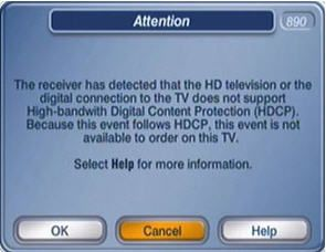 On-screen alert: receiver has detected the TV does not support HDCP