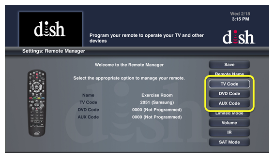 TV Code, DVD Code, or Auxiliary Code (use the remote to move up and down through the list of options)