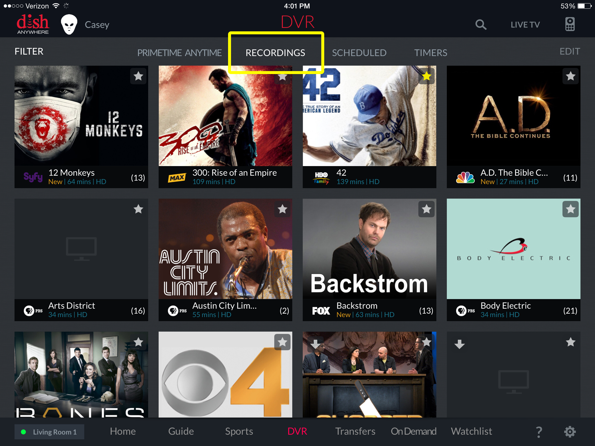 Recordings menu option in DISH Anywhere mobile app