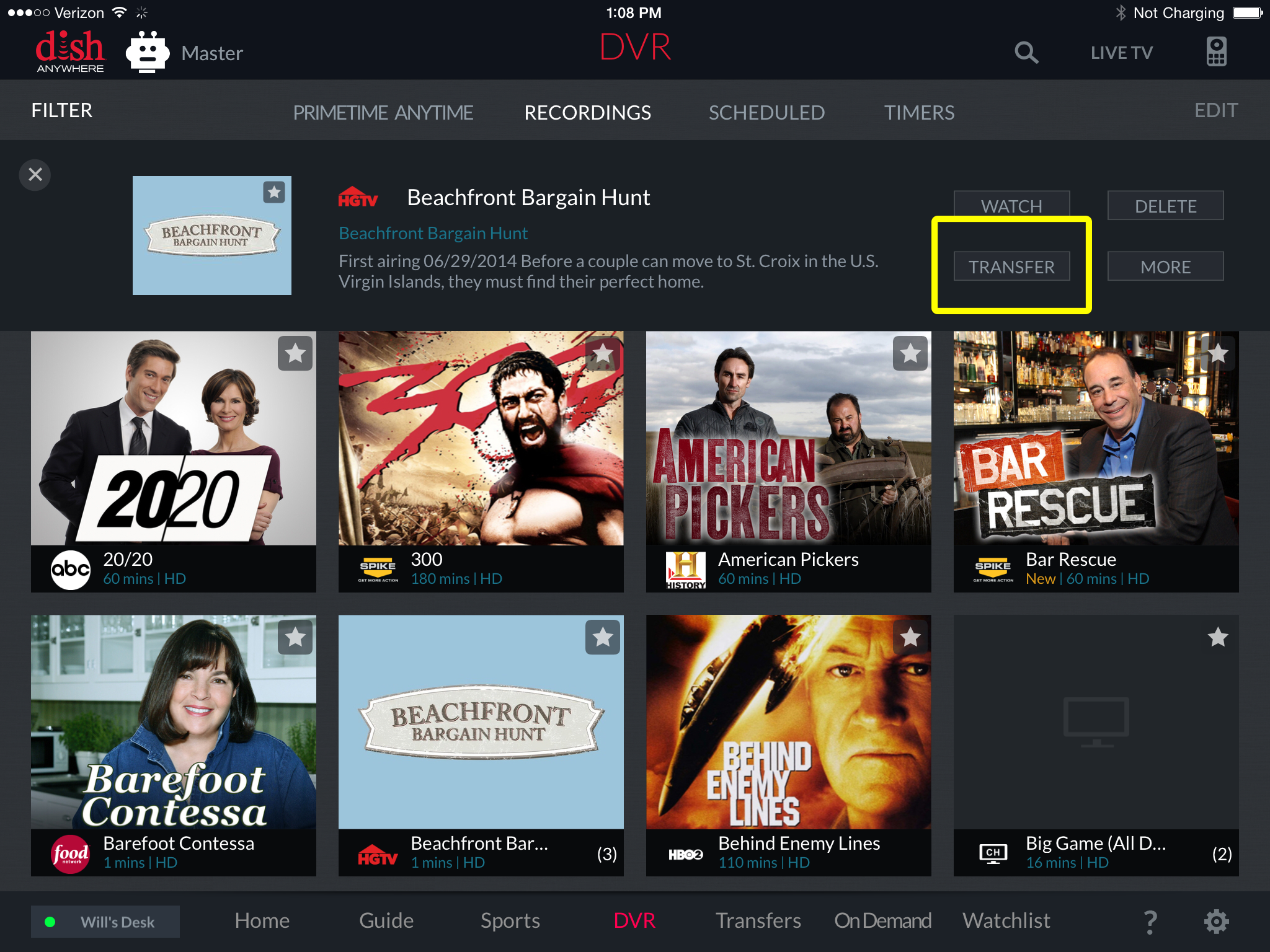 Transfer button for selected content on DISH Anywhere app