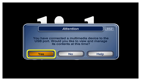 popup asking if you want to manage the contents of the connected multimedia device