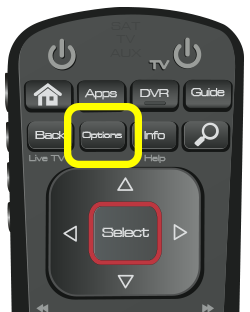 Options button on 52.0 remote (second button in the second row of four buttons.)