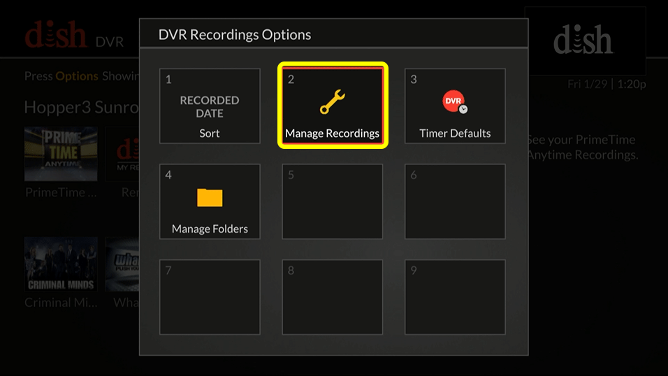 wrench icon on the manage recordings DVR option