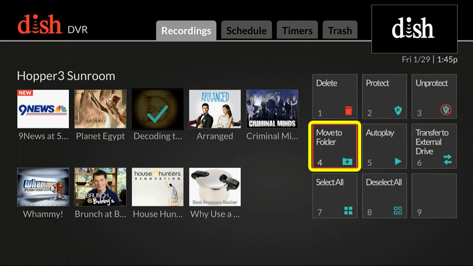 menu option 4 to move the selected recording to a folder