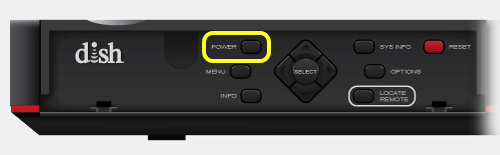 Power button on front of receiver