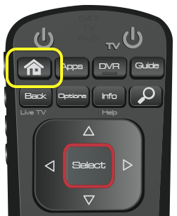 Home button on 52.0 remote (first button in the top row of four buttons.)