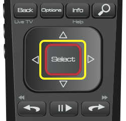 Select button on 52.0 remote (rounded button in the middle of a flat arrow pad in the middle of the remote.)