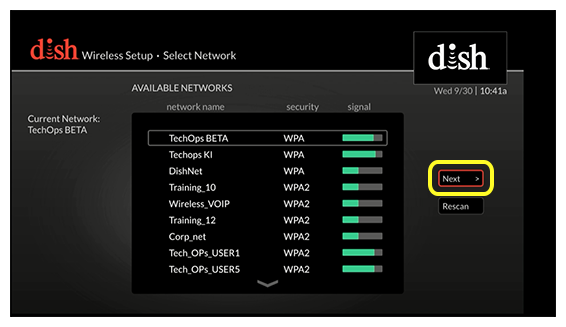 list of available networks in the center of the screen, with two buttons on the right (use the remote to move up and down through the list of options)