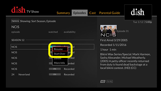 context menu showing start over as an option for this episode