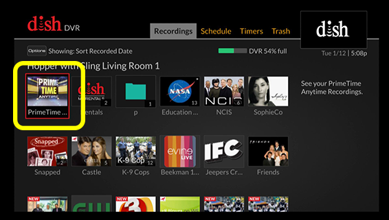 Primetime anytime tile in the DVR menu grid