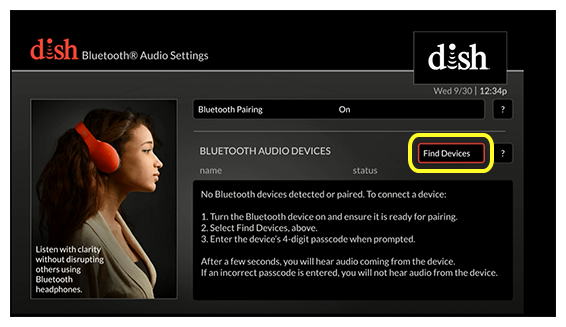 bluetooth audio settings with find devices button (Use the remote control to move up and down through the list of options.)