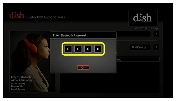 Enter bluetooth password pop up (Use the remote to enter your 4 digit password)