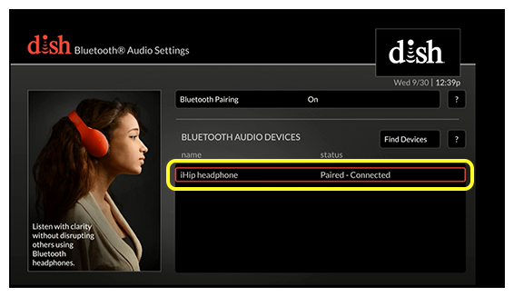bluetooth audio settings screen