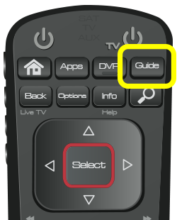 Guide button on 52.0 remote (fourth button in the top row of four buttons.)