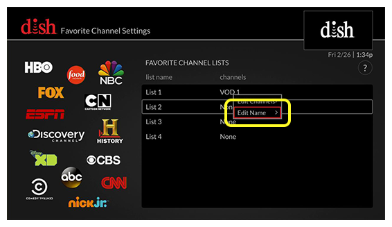 list of favorite channel list settings (Use the remote control to move up and down through the list of options.)