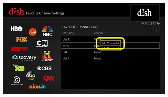 list of favorite channel list settings (Use the remote control to move up and down the list of menu options.)