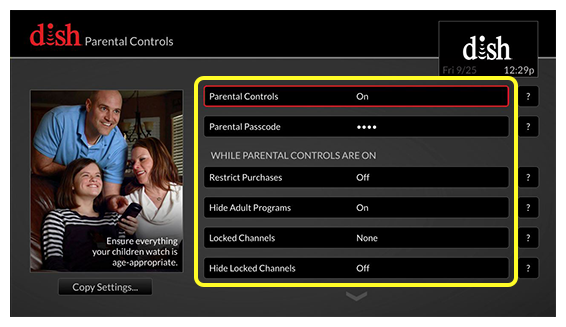 list of parental control options including a required passcode