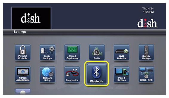 Bluetooth menu option (use the remote to move through the grid of menu options)