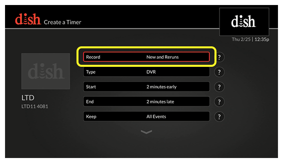 List of timer options (Use the remote control to move up and down through the list of options.)