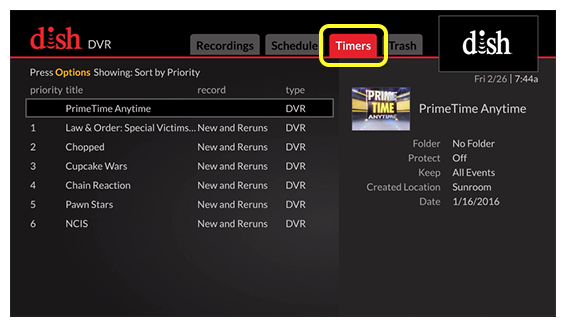 DVR menu (Use the skip forward button, which is the third indented button in the row below the flat touch pad, tomove through the tabs)