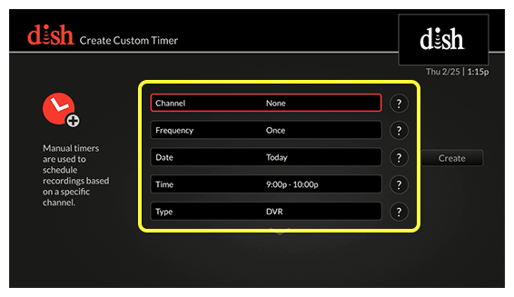 List of Custom Timer options on the left and create  button on the right (Use the remote control to move up and down through the list of options.)