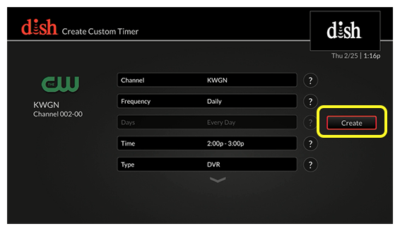 List of Customer Timer options on the left and create  button on the right (Scroll left or right until create is selected.)