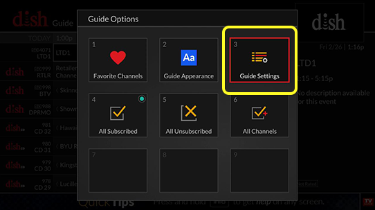 Guide Settings option tile