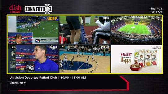Multi-channel view including Zona Futbol games