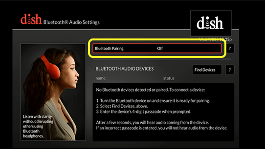 Menu option to enable bluetooth