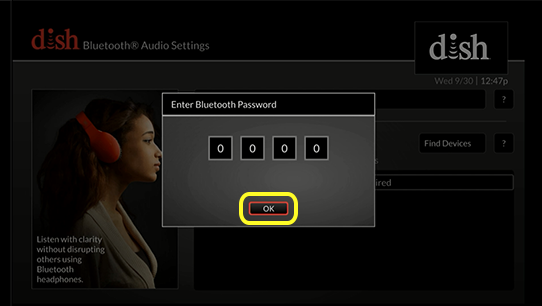OK button on password prompt